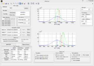 L'interfaccia grafica principale di IMPAVIDO. Densità di probabilità gaussiane univariate.